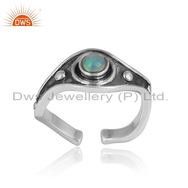 Fancy Ethiopian Opal Cabushion Silver Oxidized Ring