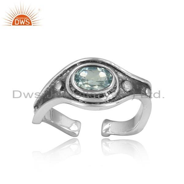 Fancy Blue Topaz Sterling Silver Oxidized Adjustable Ring