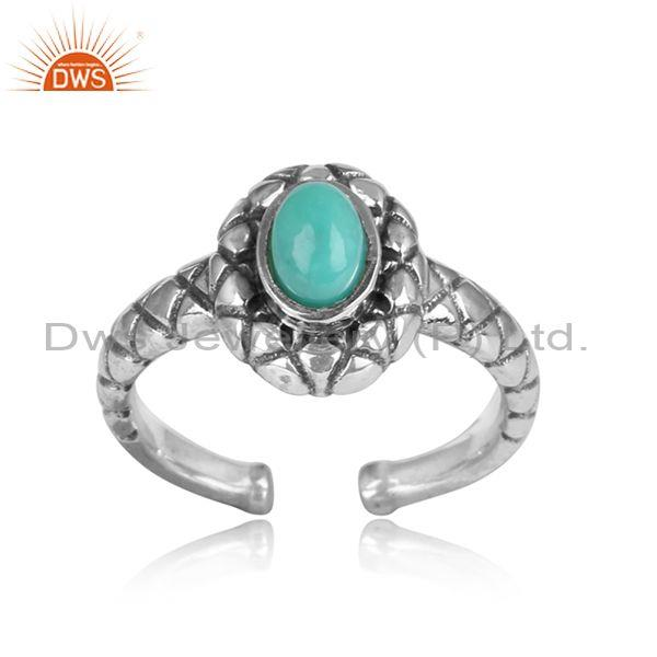 Arizona Turquoise Cabushion Set Sterling Silver Ring