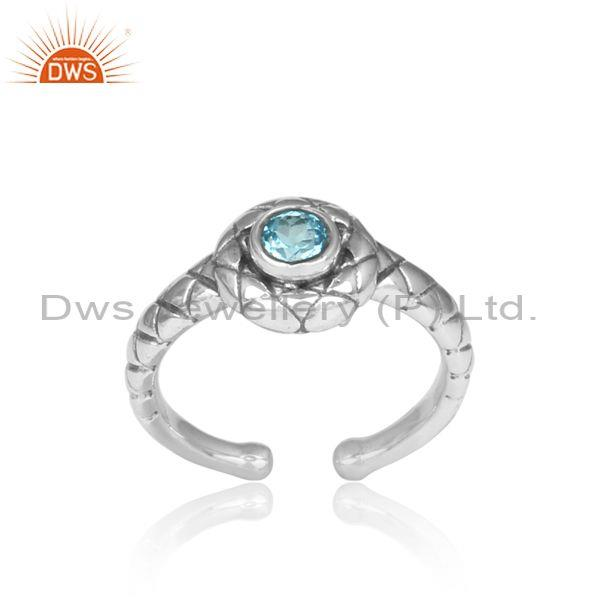 Handmade Blue Topaz Set Oxidized 925 Silver Pattern Ring