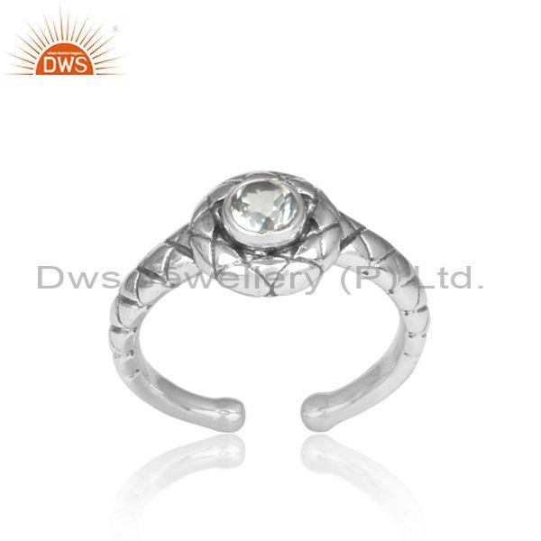Handmade Crystal Quartz Set Oxidized 925 Silver Pattern Ring