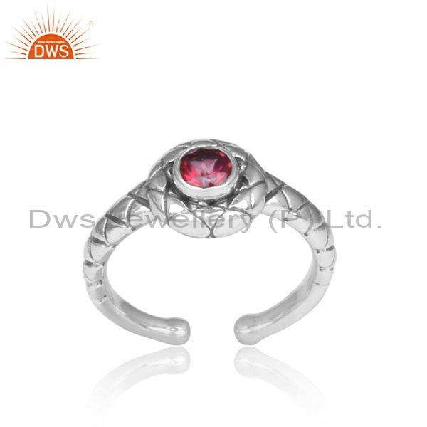 Handmade Pink Topaz Set Oxidized 925 Silver Pattern Ring