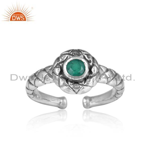 Handmade Round Cut Green Onyx Oxidized Silver Pattern Ring