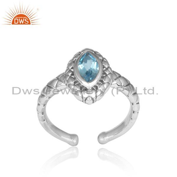 Handmade Pear Blue Topaz Set Oxidized Silver Pattern Ring