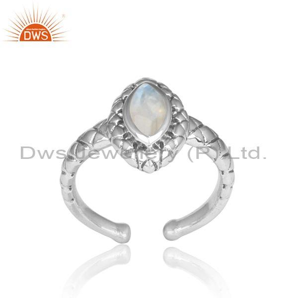 Handmade Rainbow Moonstone Oxidized Silver Pattern Ring