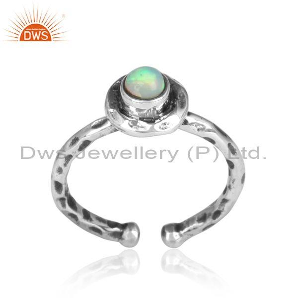 Round Ethiopian Opal Set Oxidized 925 Silver Hammered Ring