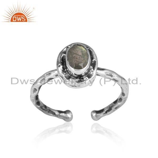 Oval Labradorite Set Oxidized Sterling Silver Hammered Ring