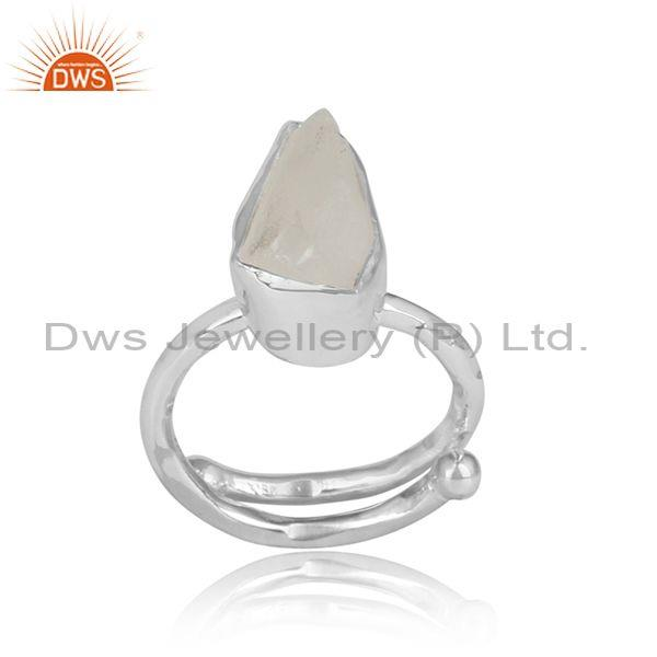Crystal Quartz Rough Cut Sterling Silver Adjustable Ring