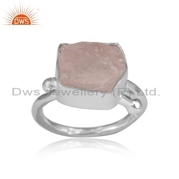Rose Quartz Rough Cut Sterling Silver Adjustable Ring