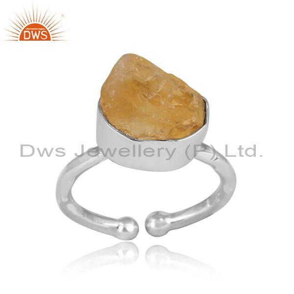 Citrine Rough Cut Sterling Silver Adjustable Ring