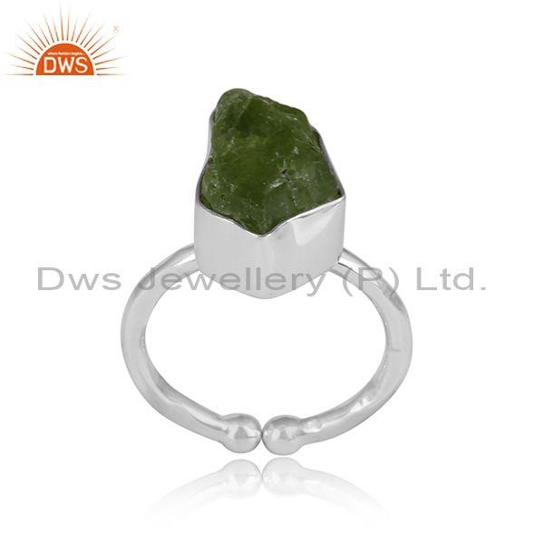 Peridot Rough Cut Sterling Silver Adjustable Ring