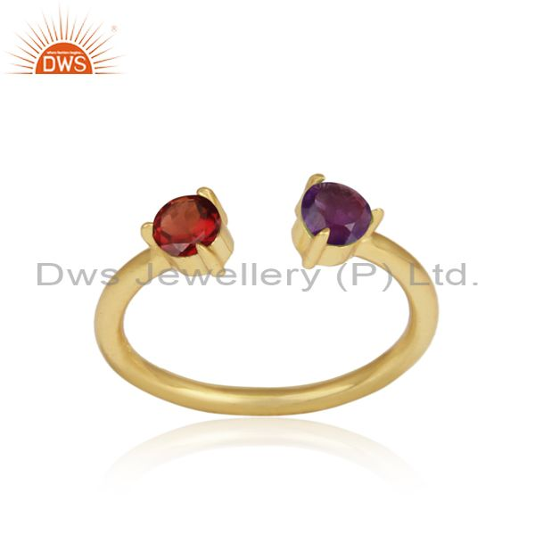 Amethyst And Red Garnet Set Gold On Silver Statement Ring