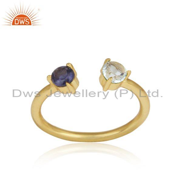 Aquamarine, Iolite Set Gold On 925 Silver Statement Ring