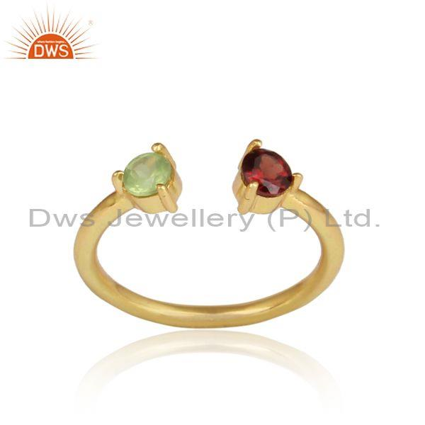 Garnet, Peridot Set Gold On 925 Silver Handmade Facing Ring