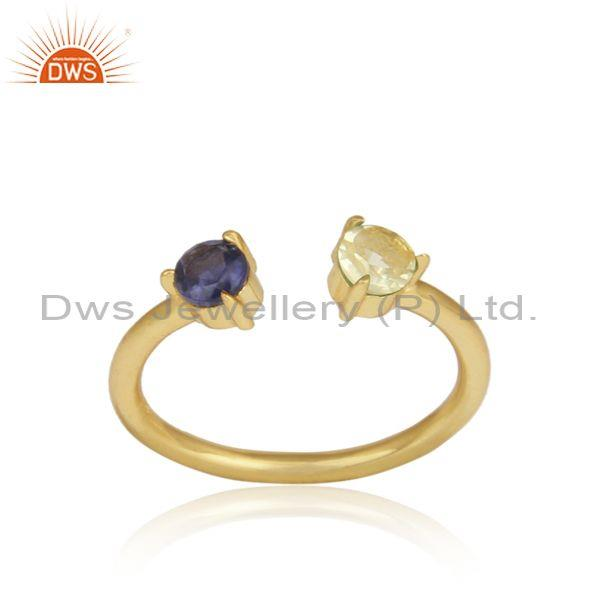 Iolite, Lemon Topaz Gold On Silver Handmade Statement Ring