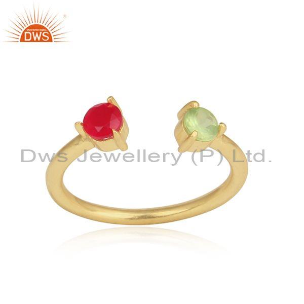 Pink Chalcedony, Peridot Set Gold On Silver Statement Ring
