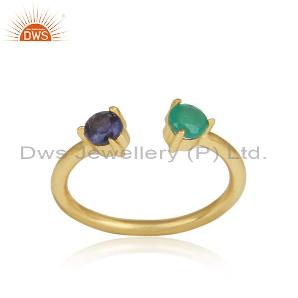 Iolite, Green Onyx Set Gold On Silver Statement Fancy Ring