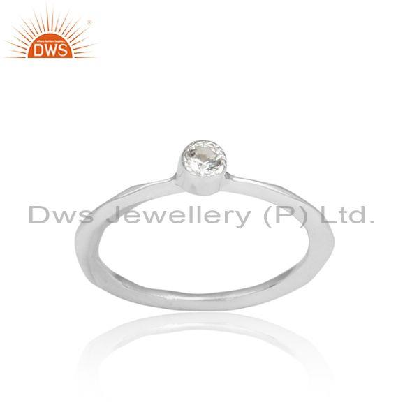 Hammered Round Cut White Topaz Set Fine 925 Silver Ring