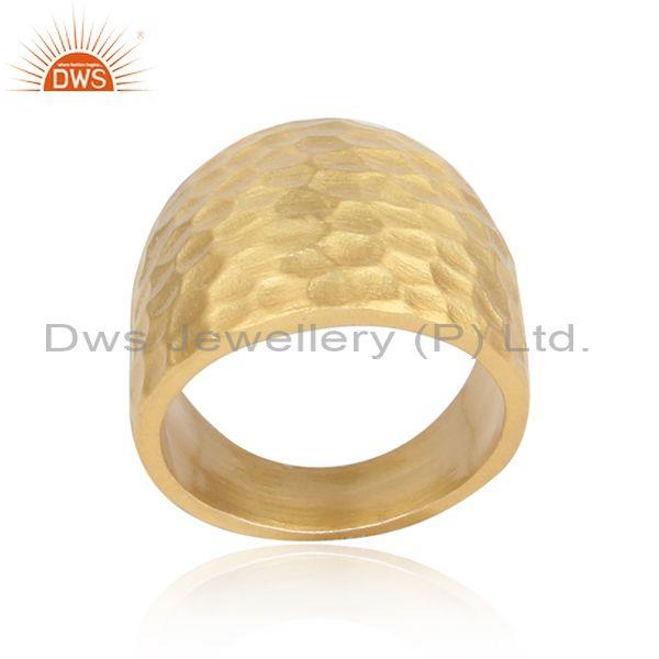 Gold Plated 925 Sterling Silver Hammered Bold Statement Ring