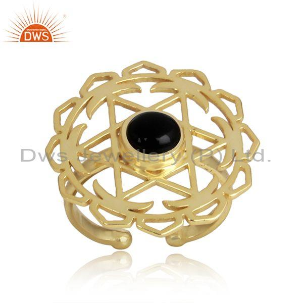 Black Onyx Set Gold On Silver Handmade Floral Statement Ring
