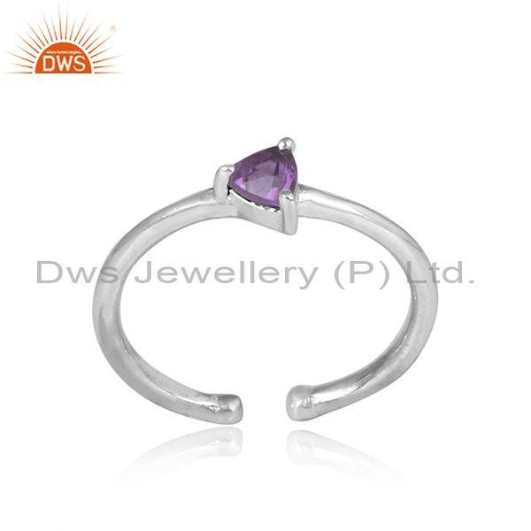 Triangular Amethyst Set Silver Fine Handmade Ring