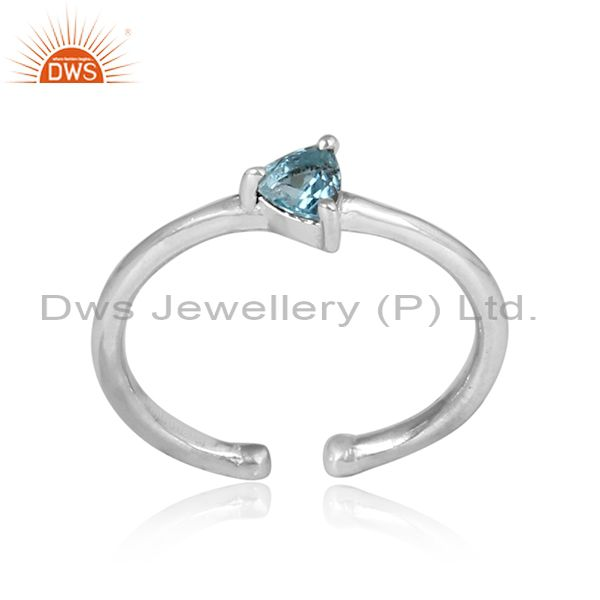 Triangular blue topaz set silver fine handmade ring