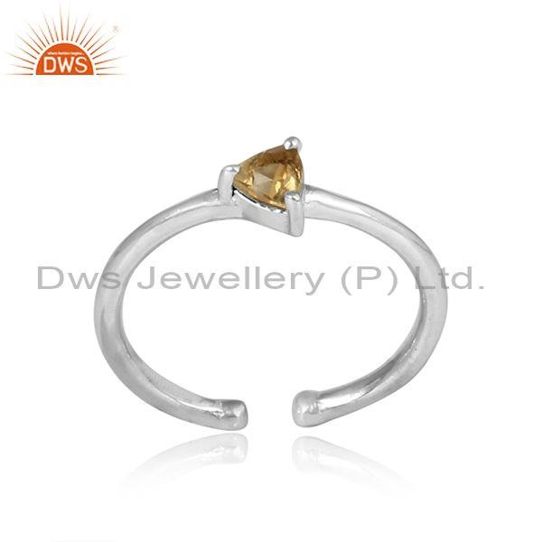 Triangular cut citrine set sterling silver fine ring
