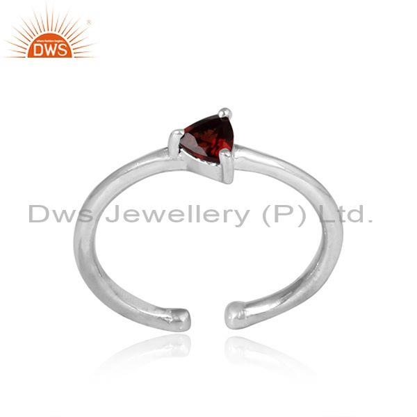 Triangular cut garnet set sterling silver fine ring
