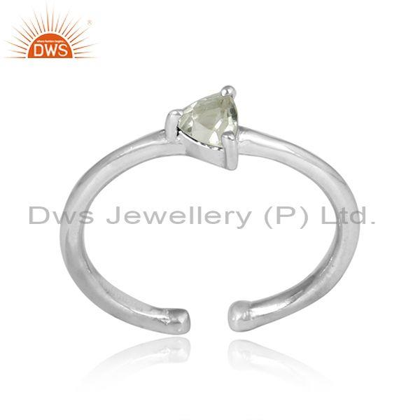 Triangular Green Amethyst Sterling Silver Fine Ring