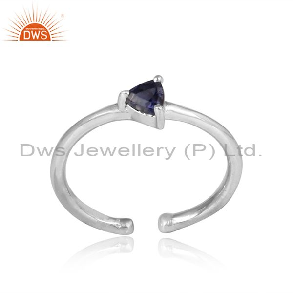 Triangle Cut Iolite Set  Sterling Silver Fine Ring