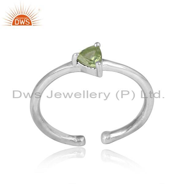 Triangular Peridot Set Handmade Fine Sterling Silver Ring