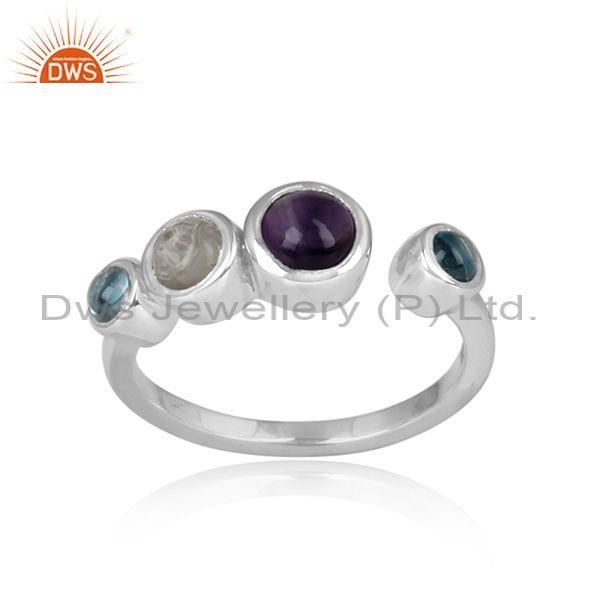 Blue Topaz, Crystal Quartz, Amethyst Set White Silver Ring