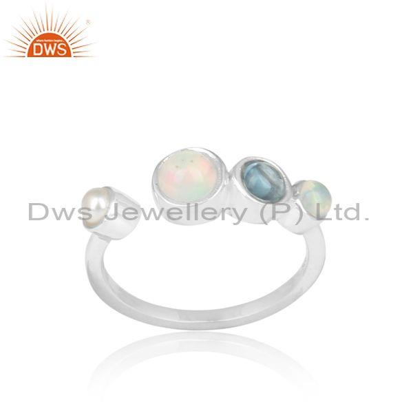 Ethiopian Opal, Pearl And Blue Topaz Set Fine Silver Ring