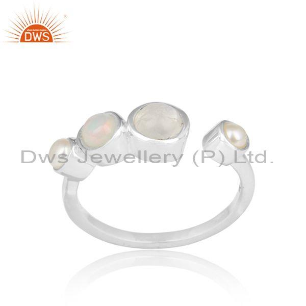 Pearl, Ethiopian Opal And Rainbow Moonstone Fine Silver Ring