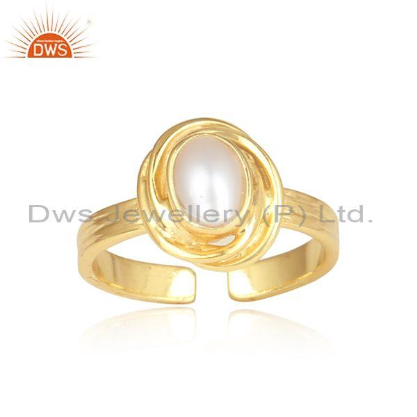 Pearl cabushion set fancy silver gold plated wrapped ring