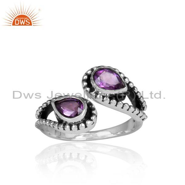Amethyst Set Oxidized Silver Twisted Statement Facing Ring
