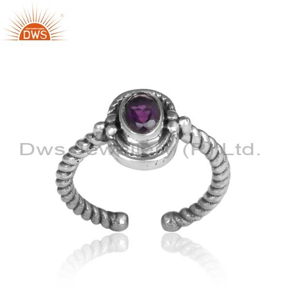 Oval Amethyst Set Oxidized Sterling Silver Twisted Wrap Ring