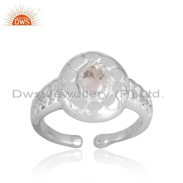 Crystal quartz set handhammered fine sterling silver ring