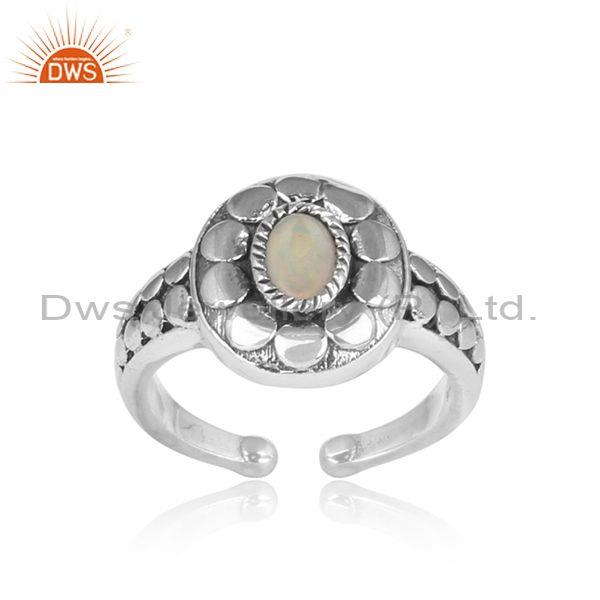 Ethiopian Opal Set Handmade Traditional Fine 925 Silver Ring