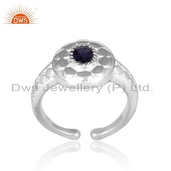 Iolite set handhammered and handmade fine 925 silver ring