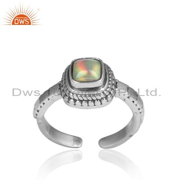 Square cut ethiopian opal set oxidized silver handmade ring