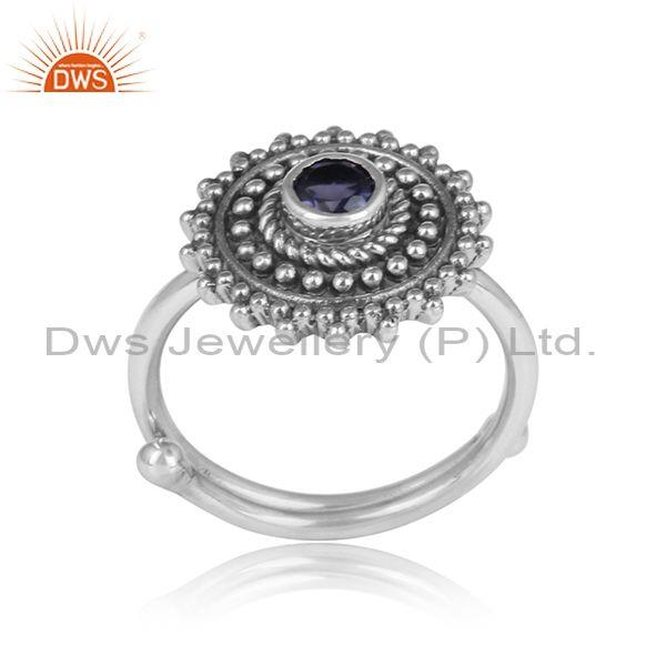 Iolite set oxidized silver floral traditional handmade ring