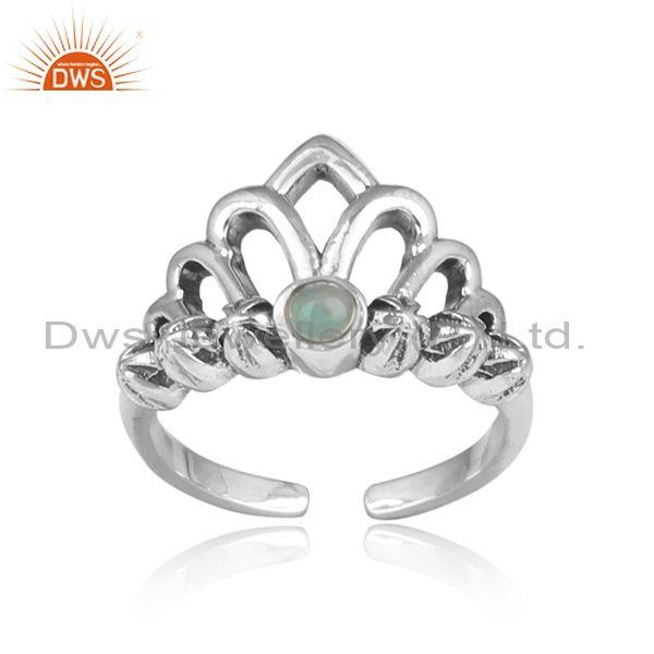 Ethiopian Opal Set Oxidized Silver Crown Shaped Fancy Ring