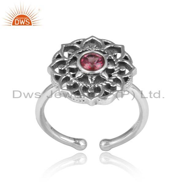 Pink topaz set traditional boho oxidized silver floral ring