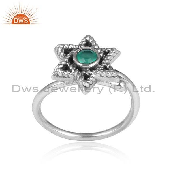 Green Onyx Set Traditional Oxidized Silver Star Shaped Ring