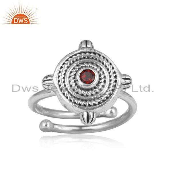 Garnet set round adjustable oxidized silver handmade ring