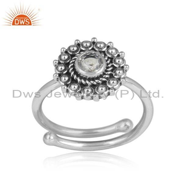 Crystal Quartz Set Round Mandala Oxidized Silver Ring