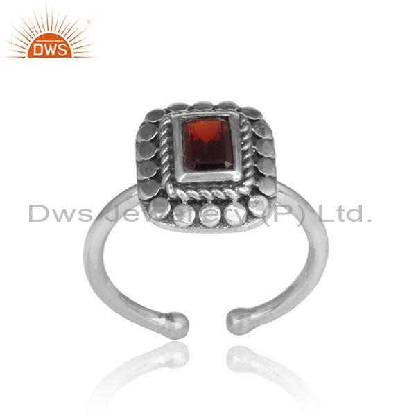 Square Cut Red Garnet Set Traditional Oxidized Silver Ring