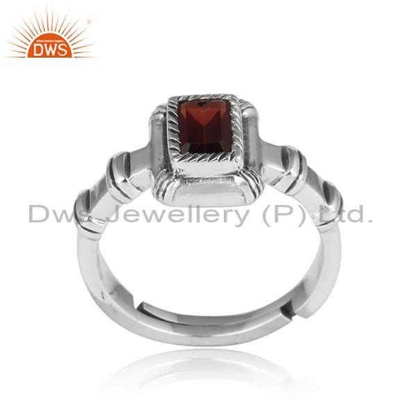 Red Garnet Set Oxidized Silver Handmade Rectangular Ring