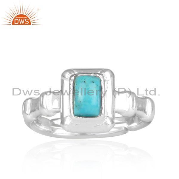 Rectangular arizona turquoise set handmade fine silver ring
